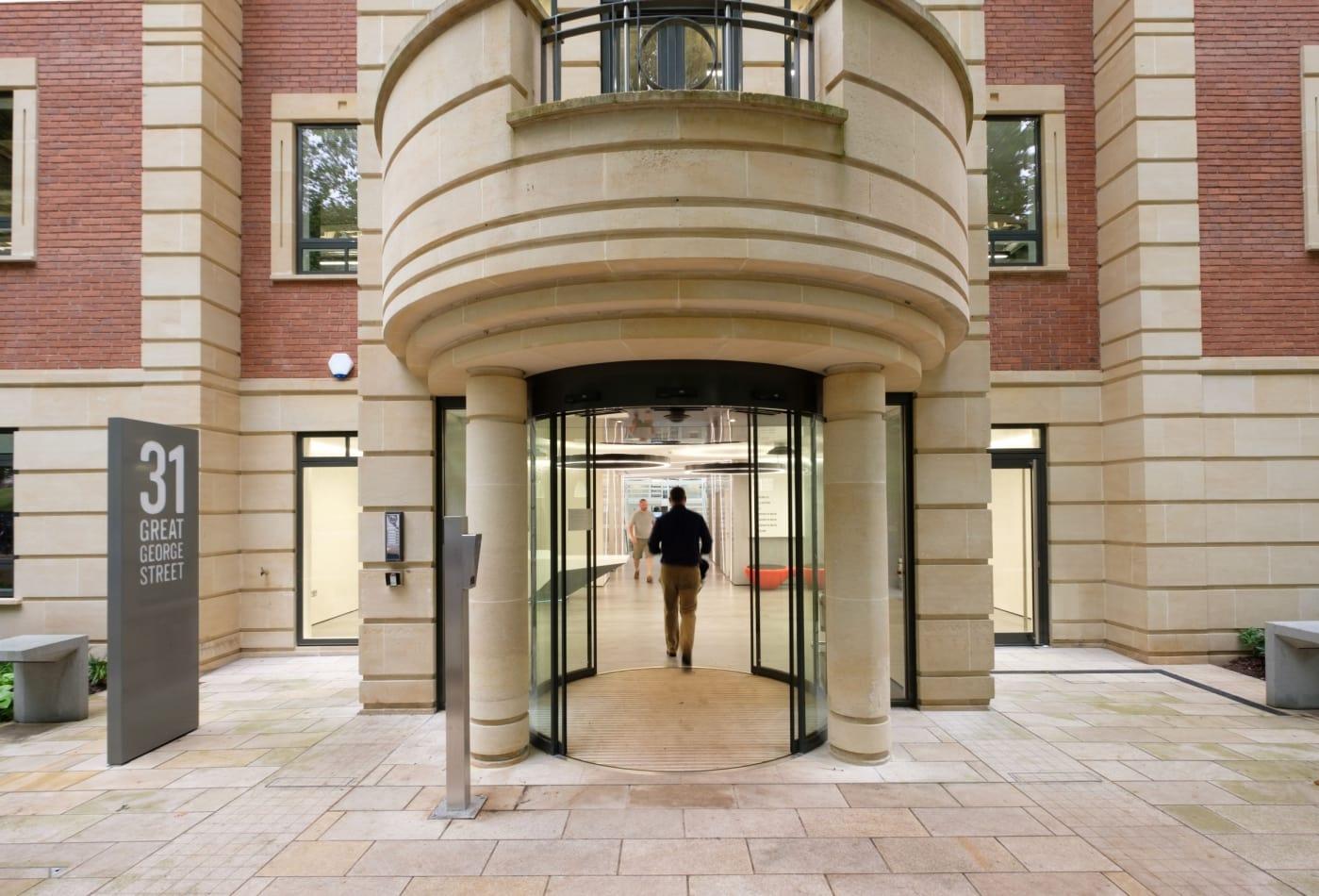 Glass atrium commercial entrance doors