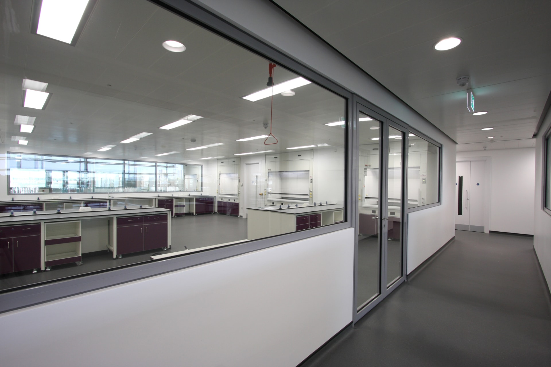 fire rated glass to laboratory corridor