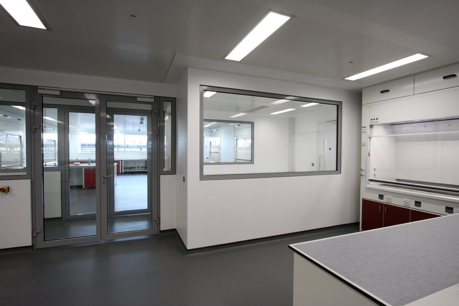 fire rated glass to laboratory interior
