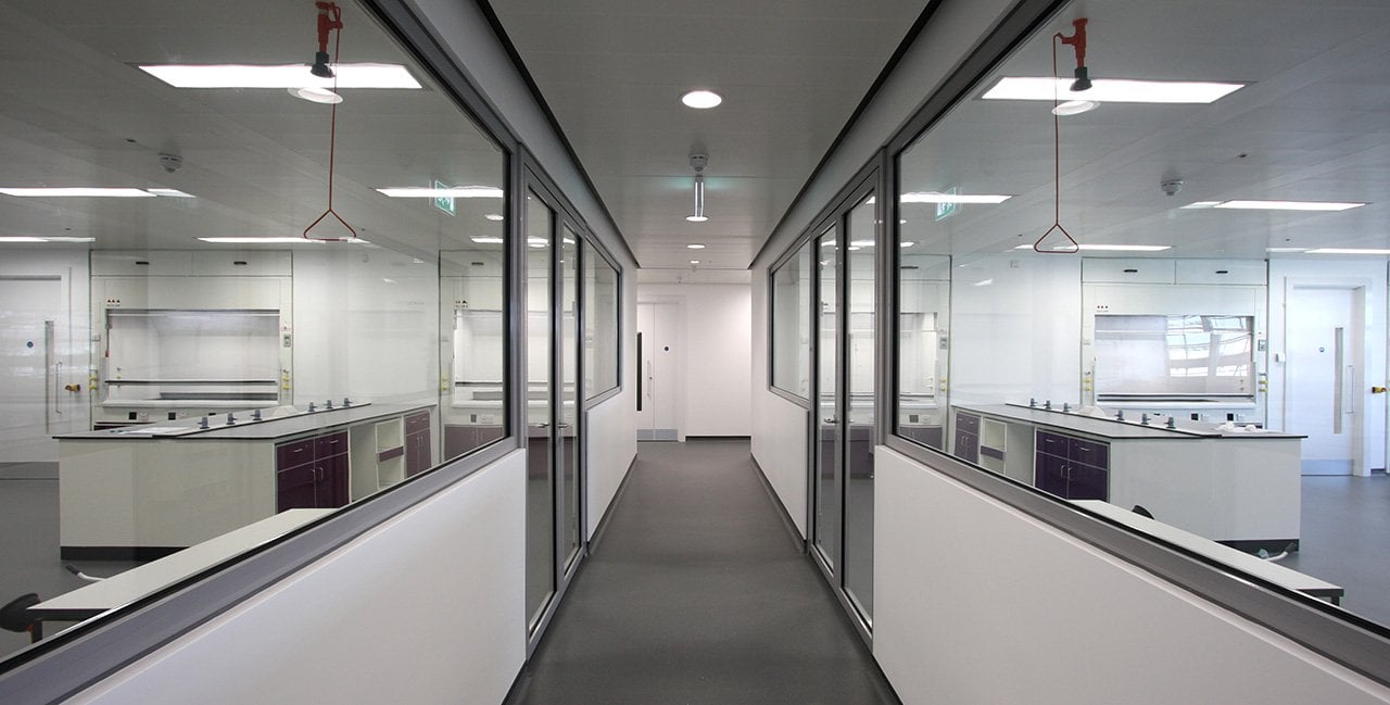 Fire Rated Glazing to a Laboratory Corridor
