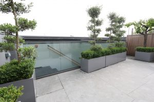 Rooftop terrace with automatic rooflight