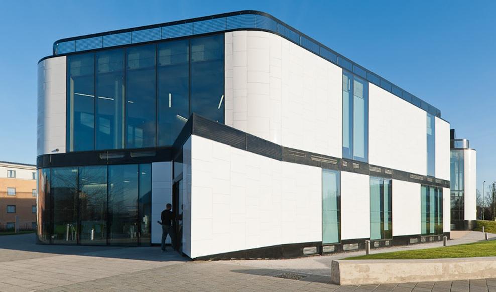 Glass facade on hertford university building