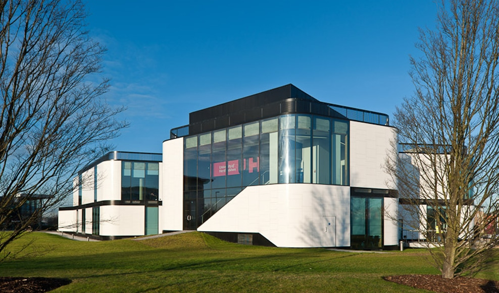 Herts university building remodel with structural glass facade