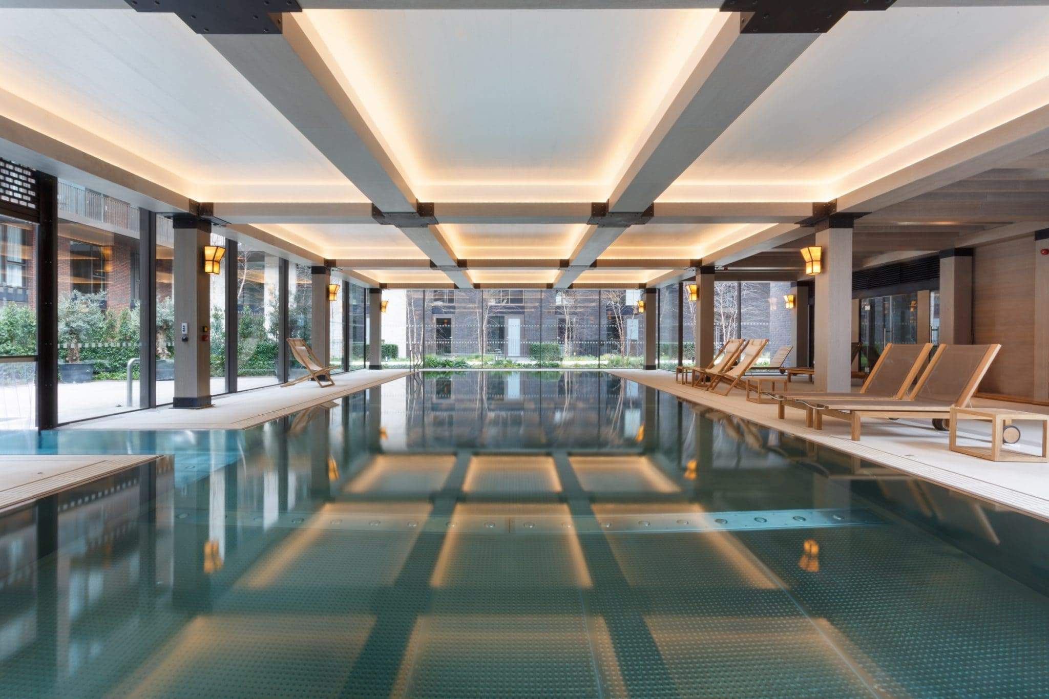 minimal windows interior of swimming pool