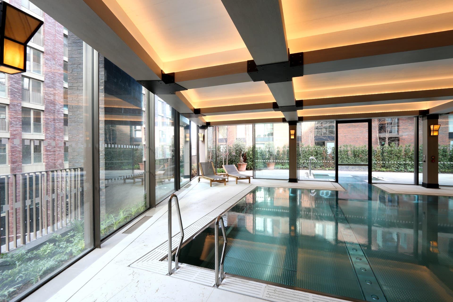 minimal windows poolside interior