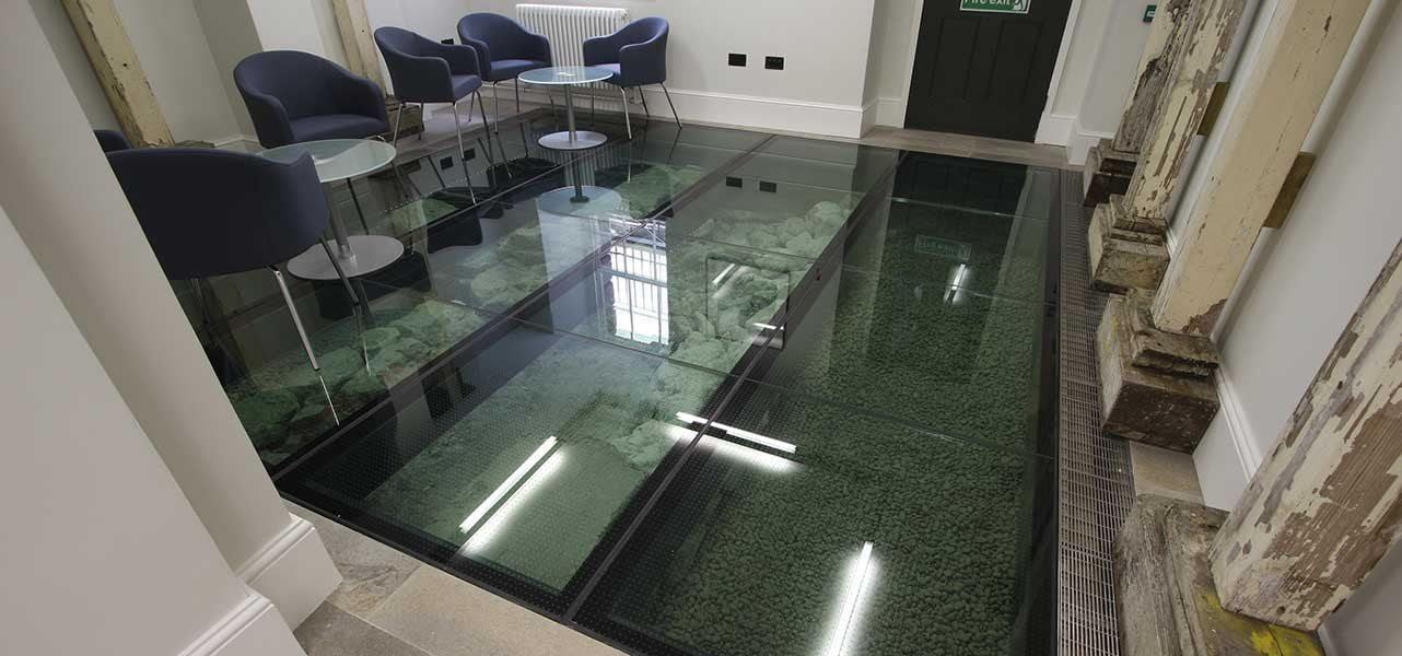 Structural Glass Floor with a Slip Resistant Finish