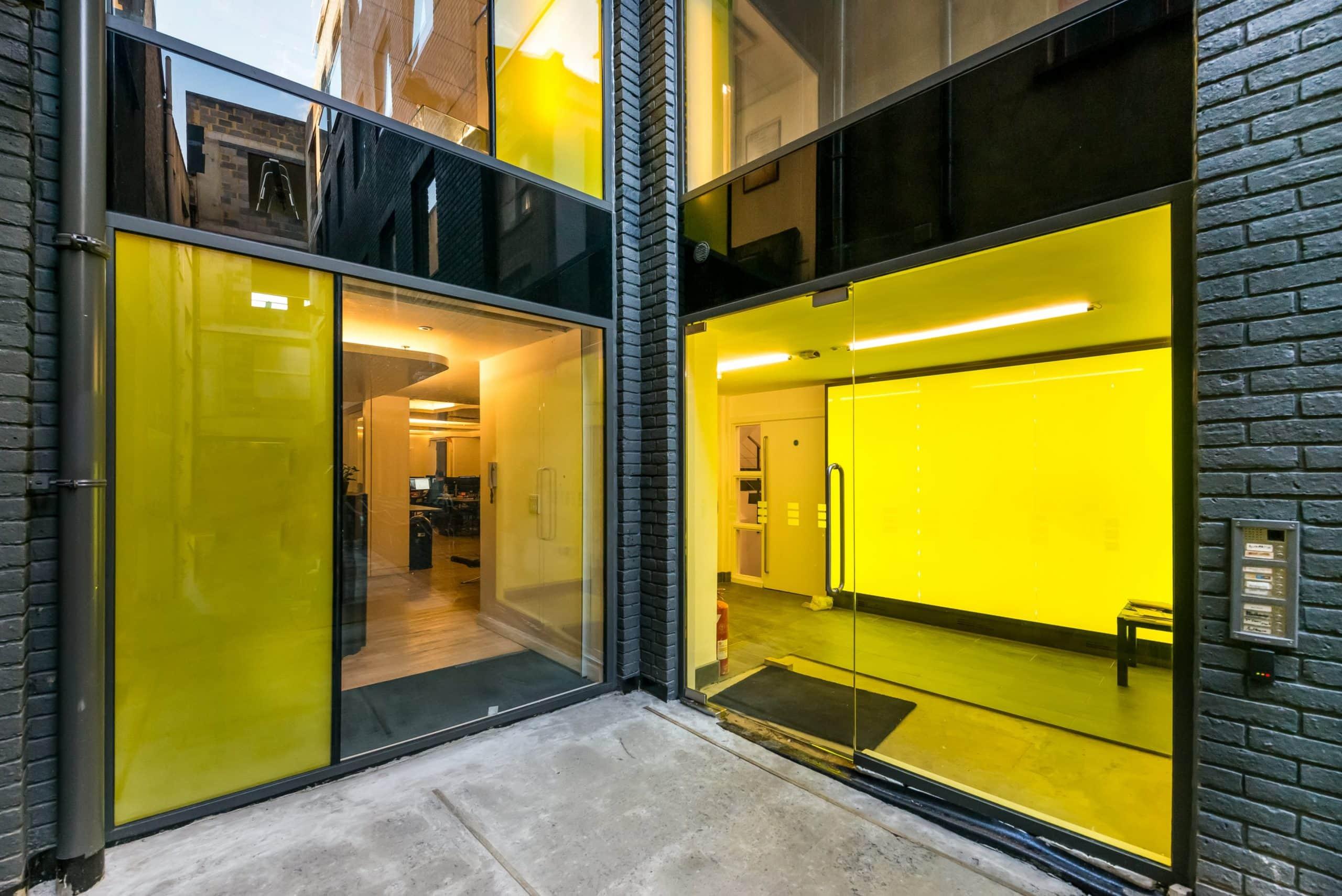 decorative glazing with yellow glass