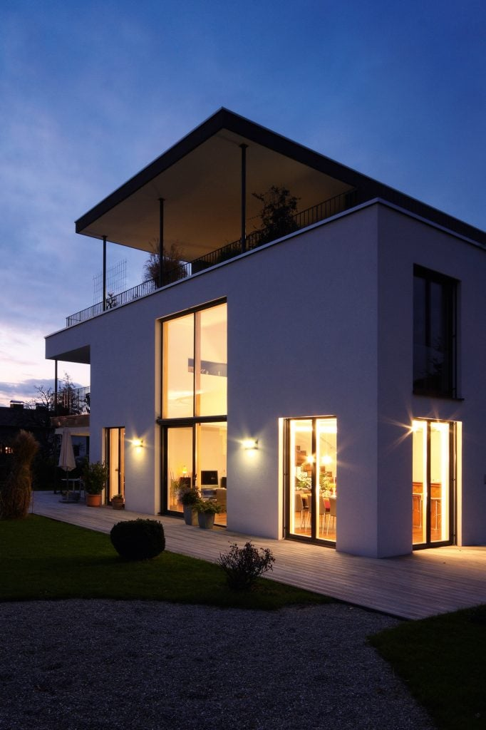 double height sliding glass doors on residential property