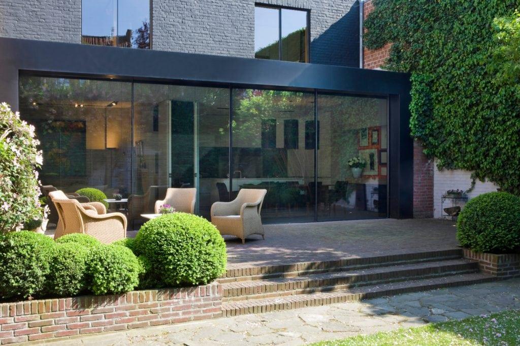 minimal windows sliding doors and windows on rear extension