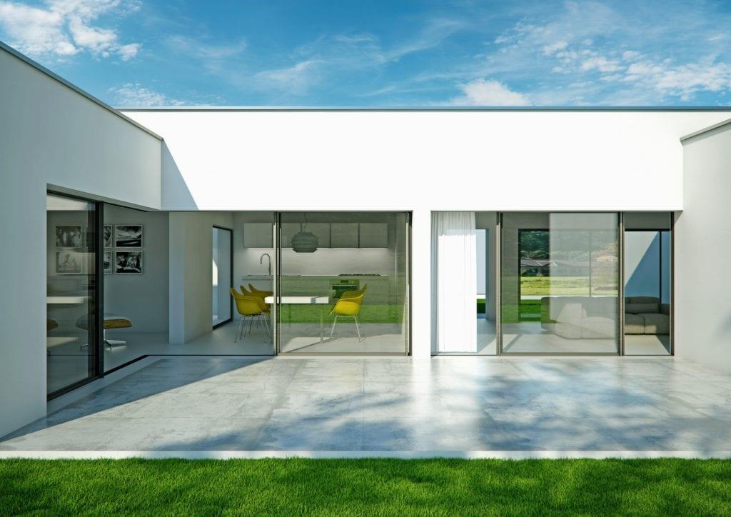 corner opening slim framed sliding glass doors create indoor outdoor space