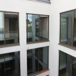 sliding doors on high rise apartments