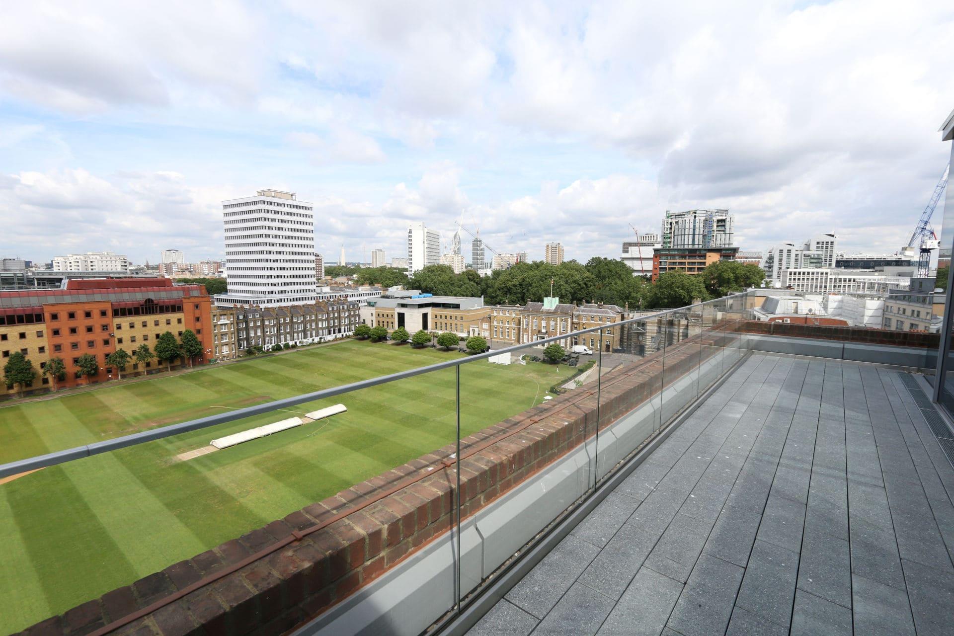 View of Cricket Pitch through frameless glass balustrade