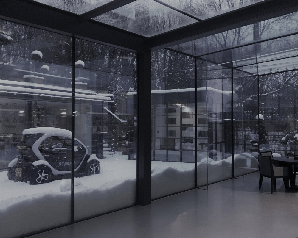 Snow at the IQ Glass Showroom in Amersham