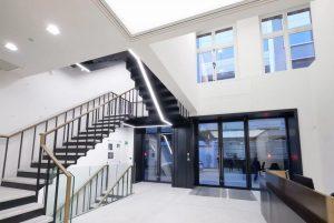 Reception with steel industrial look sliding doors