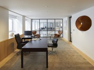Modern office space with interior glass wall