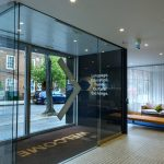Modern structural glass entrance doors