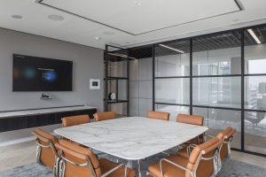 Contemporary office meeting room with industry steel look internal glass door