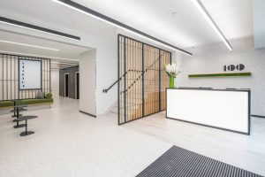 Reception area with industrial style partition