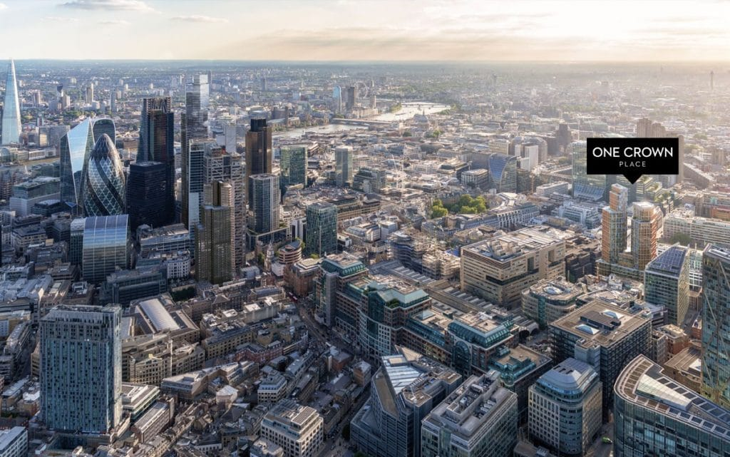 One Crown Place aerial view of London with residential towers