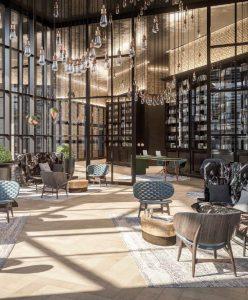 Luxury London residential development with glazed lobby
