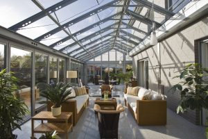 Structural glass conservatory with aluminium beams