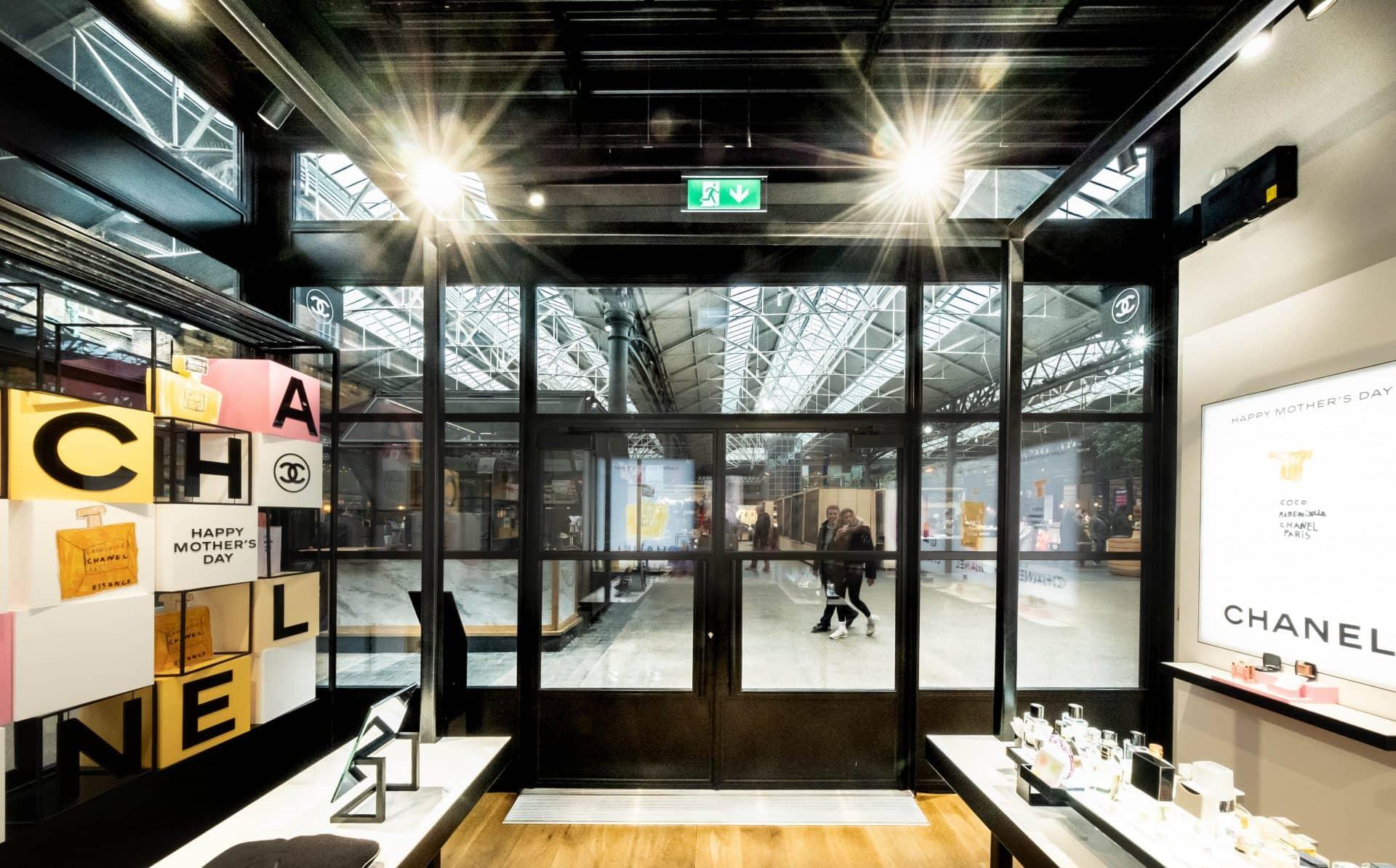 Chanel shop with steel industrial look doors and windows