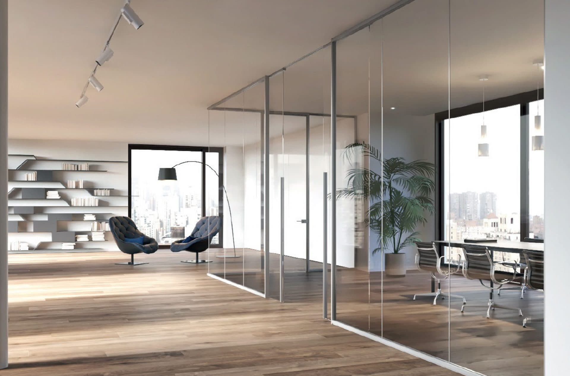 internal glass partitions or screens