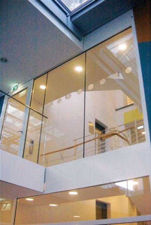 internal frameless glass screen