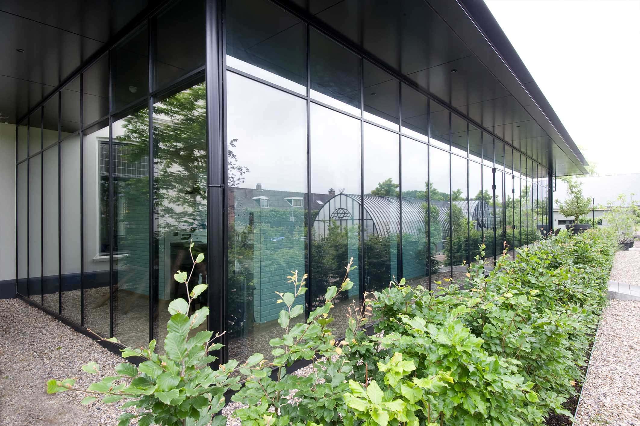 modern restaurant with steel framed glass walls