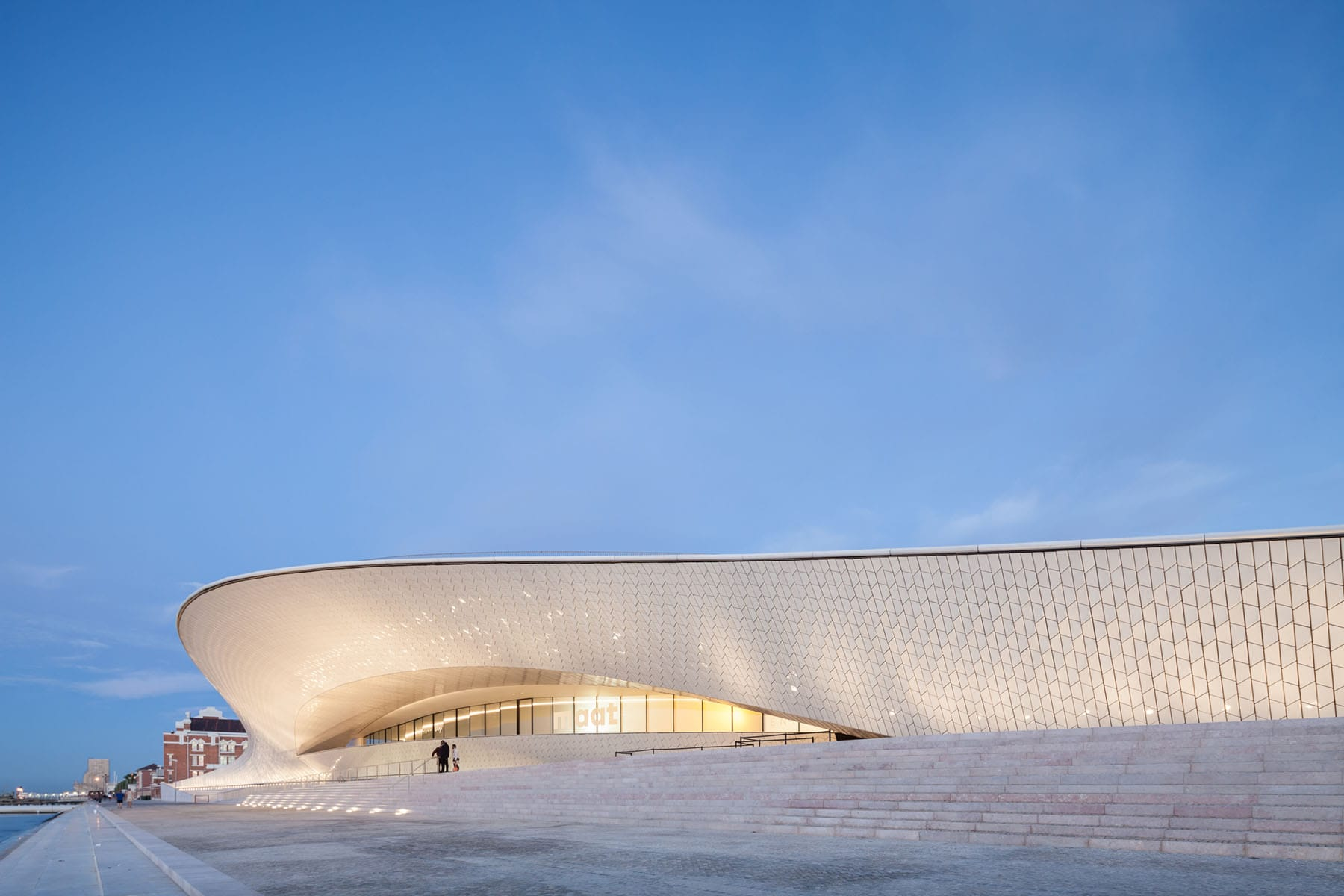 Modern Lisbon art museum with frameless glass entrance doors