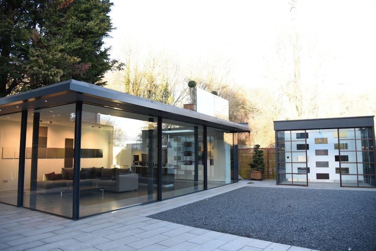 aluminium glazing showroom with sliding glass doors