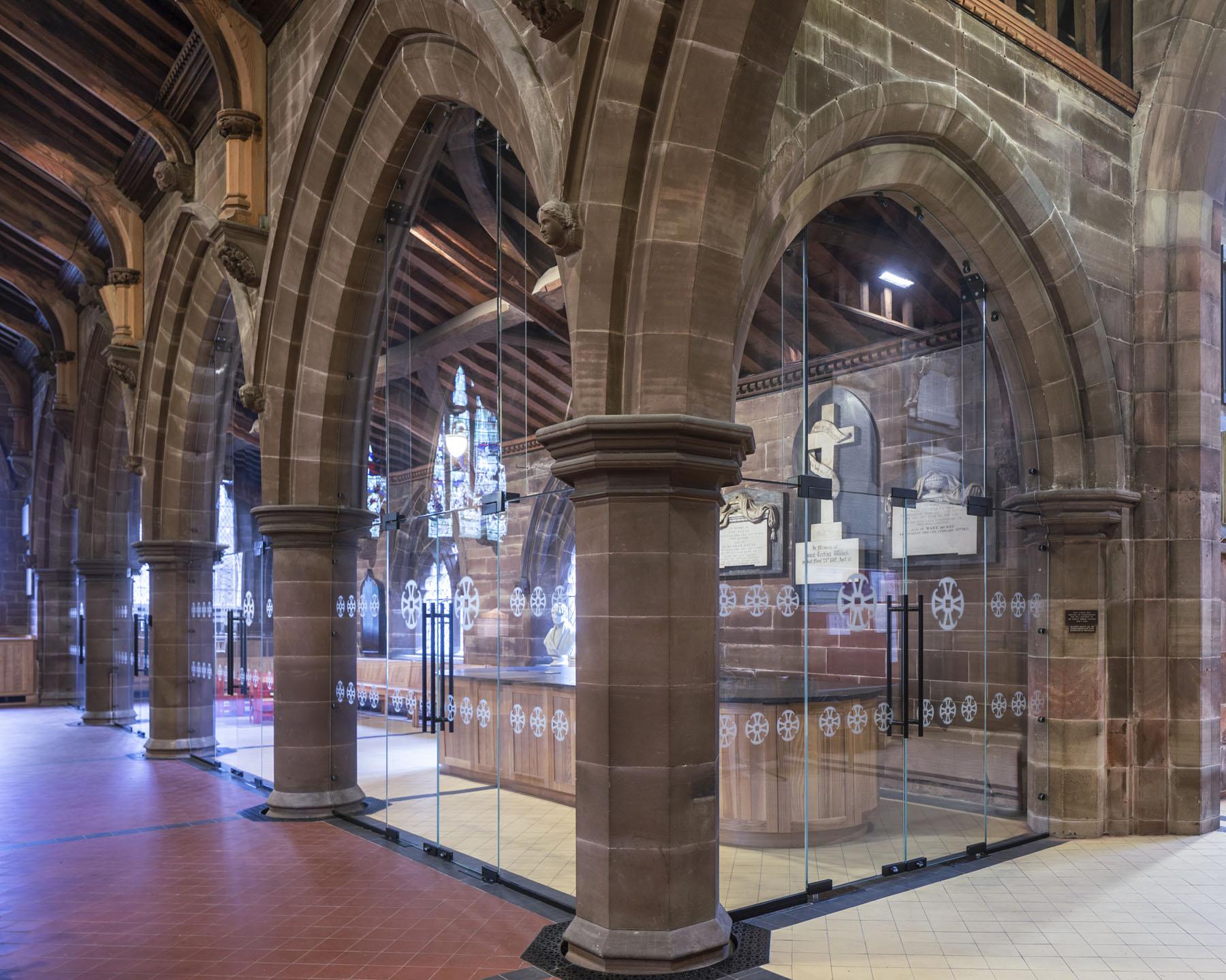 frameless internal glass paritions and doors to church renovation