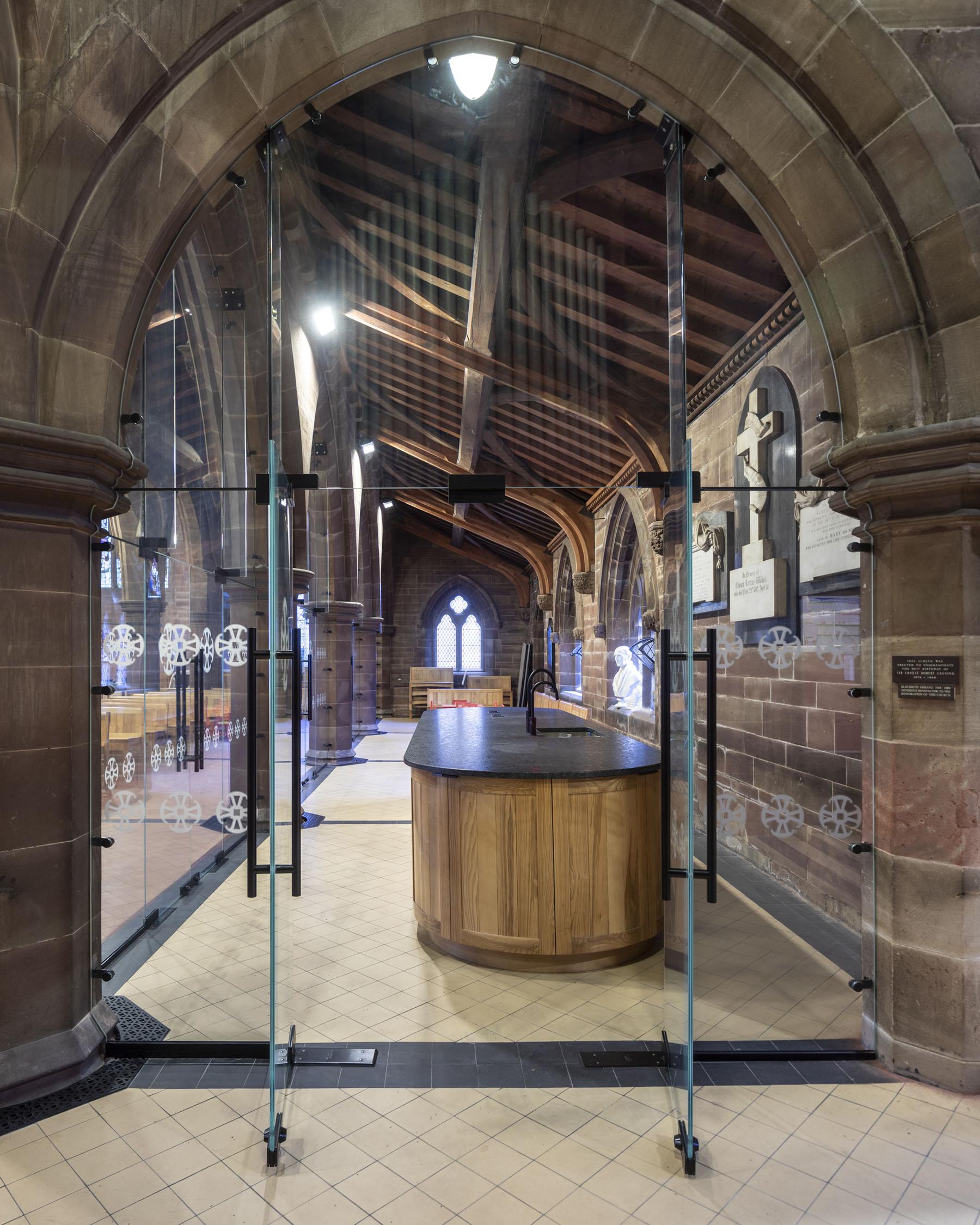 Internalglazed casement doors to historic church