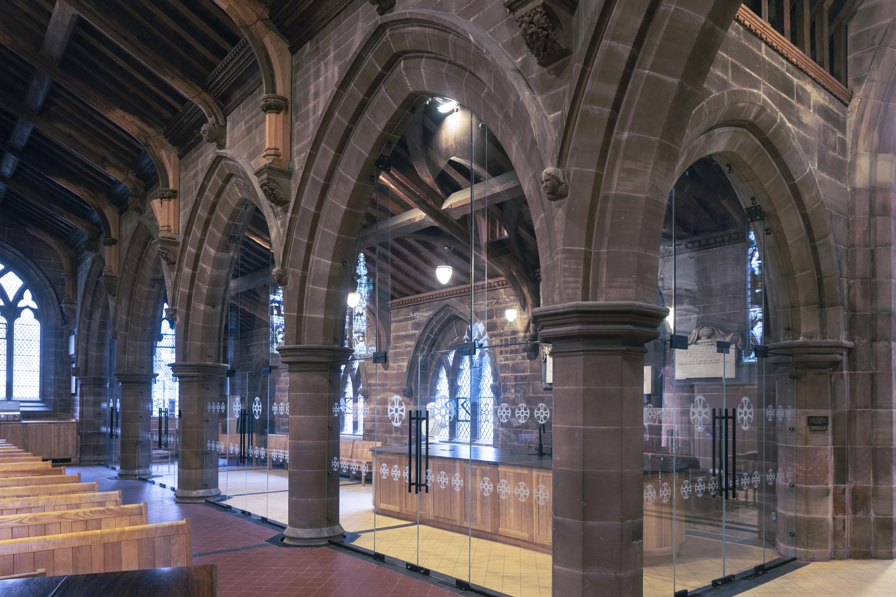 internal single glazed glass doors to church renovation
