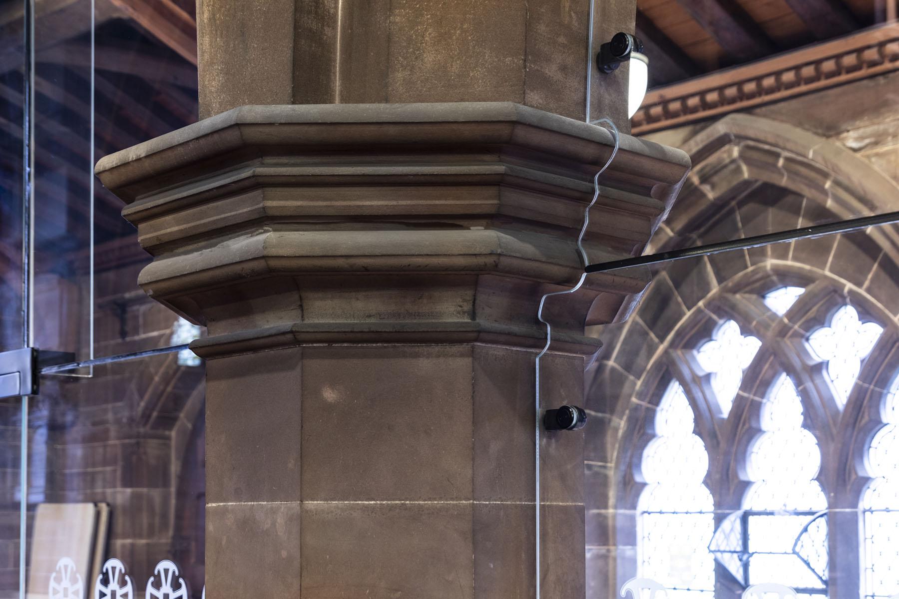 bespoke single glazed cut out round original stone pillar