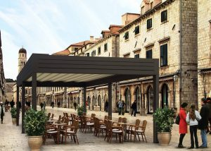 Aluminium louvre roof system creating commercial outdoor eating space