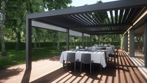 Open air dining space under automatic aluminium louvre roof