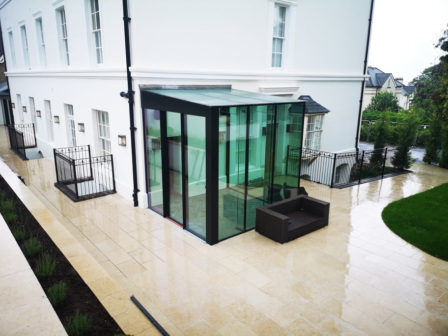 glass box extension with silicone jointed structural glazing