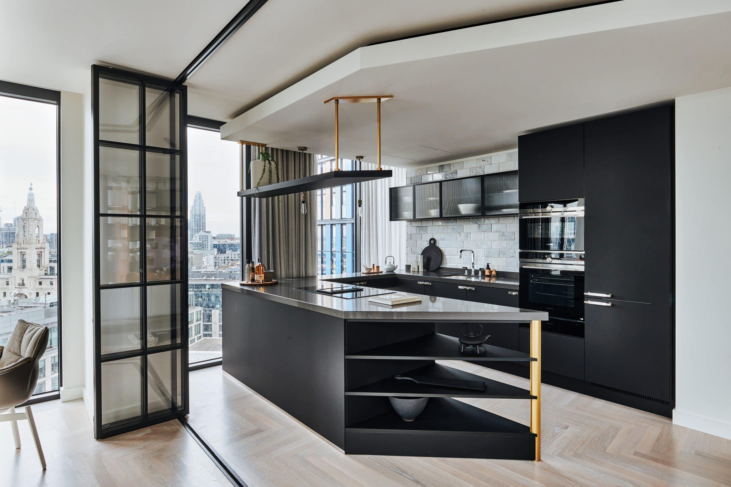 elegent internal bifold doors with glazing bars in a London residential development