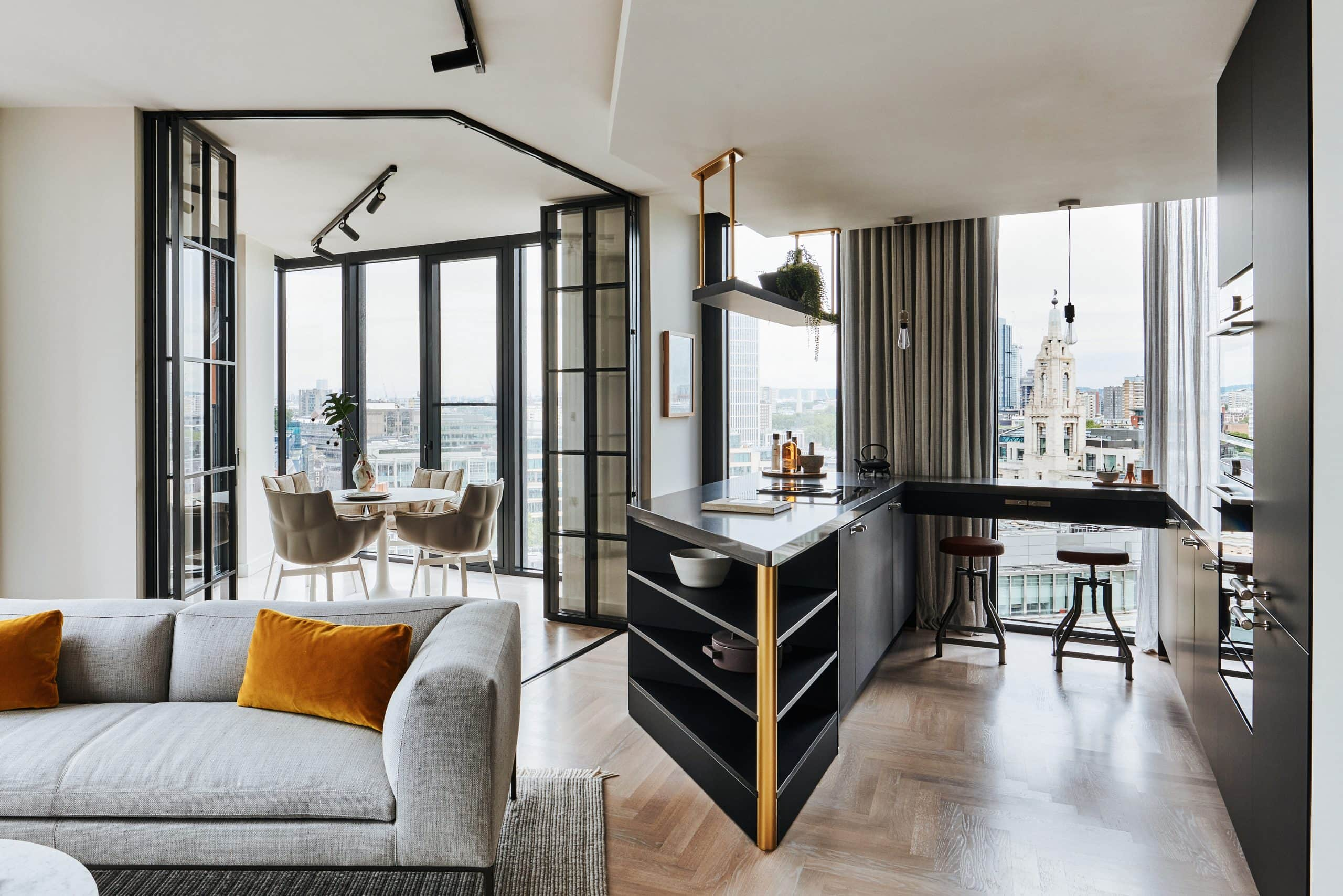 one crown place - high end residential development with steel look internal bifold doors