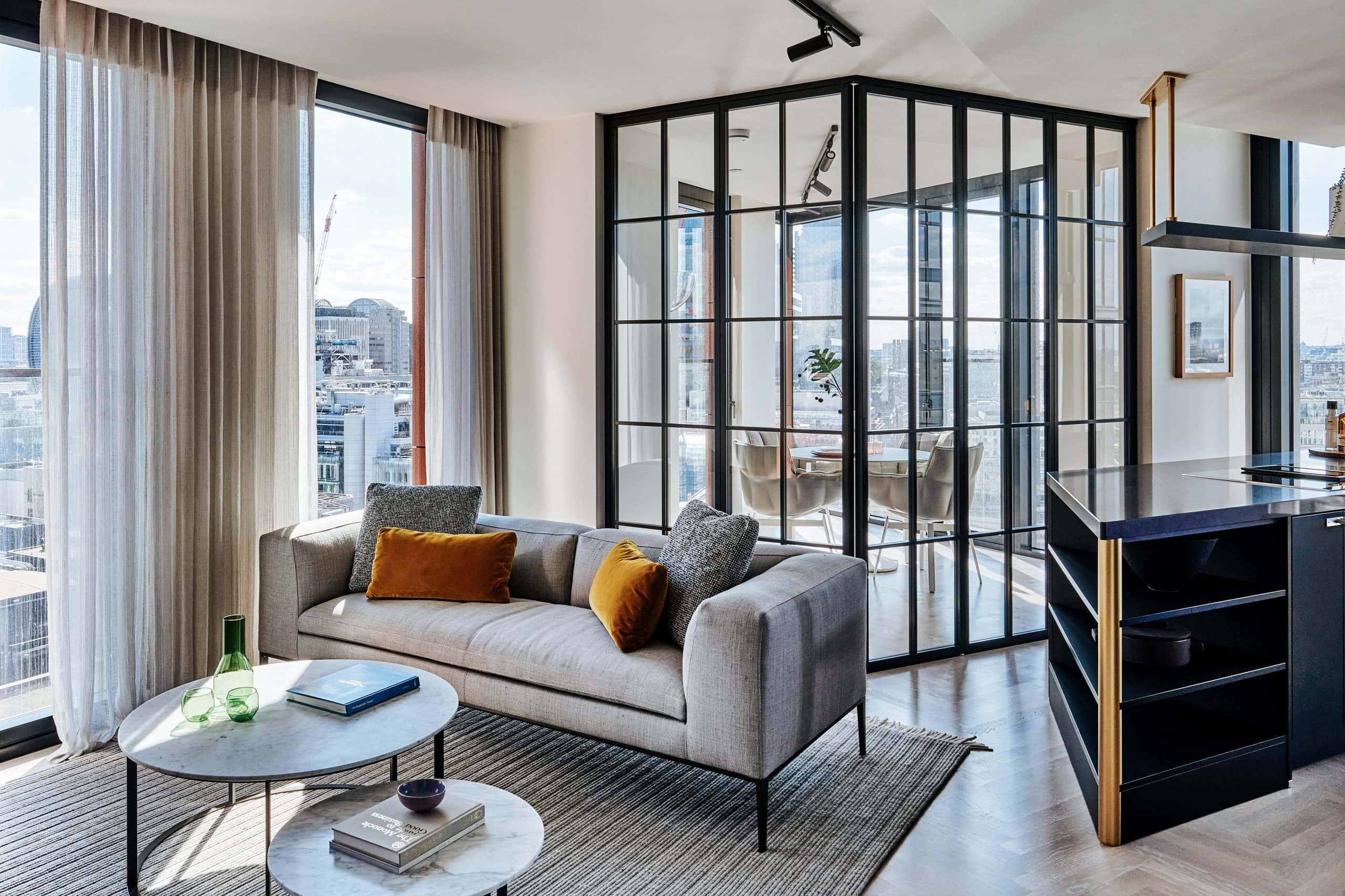 internal glazed bifold doors around a winter garden in a luxury residential development