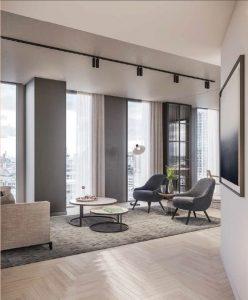slim internal bifolds installed to modern london high rise flats