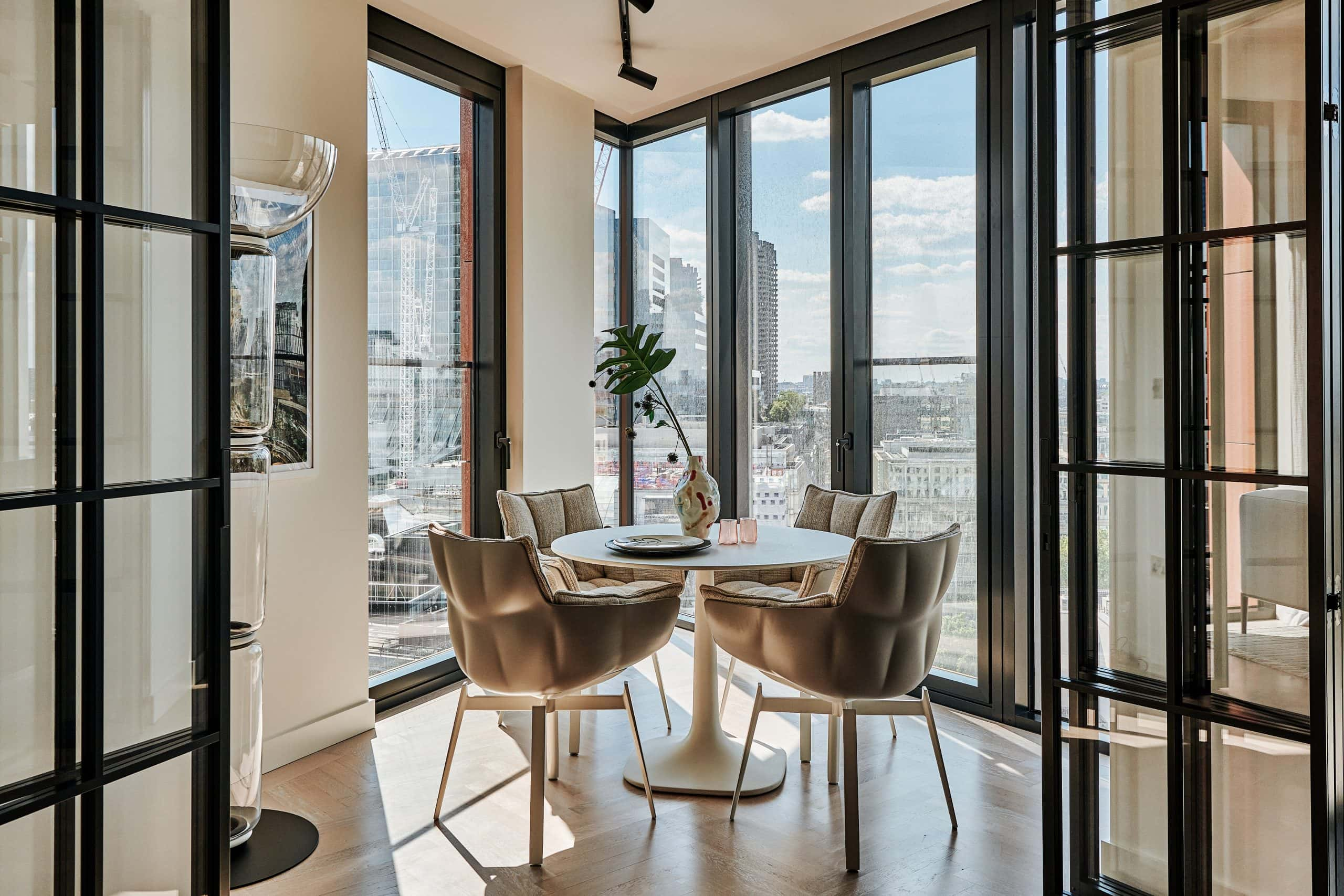 one crown place - luxury residential development in london with internal bifold doors with glass