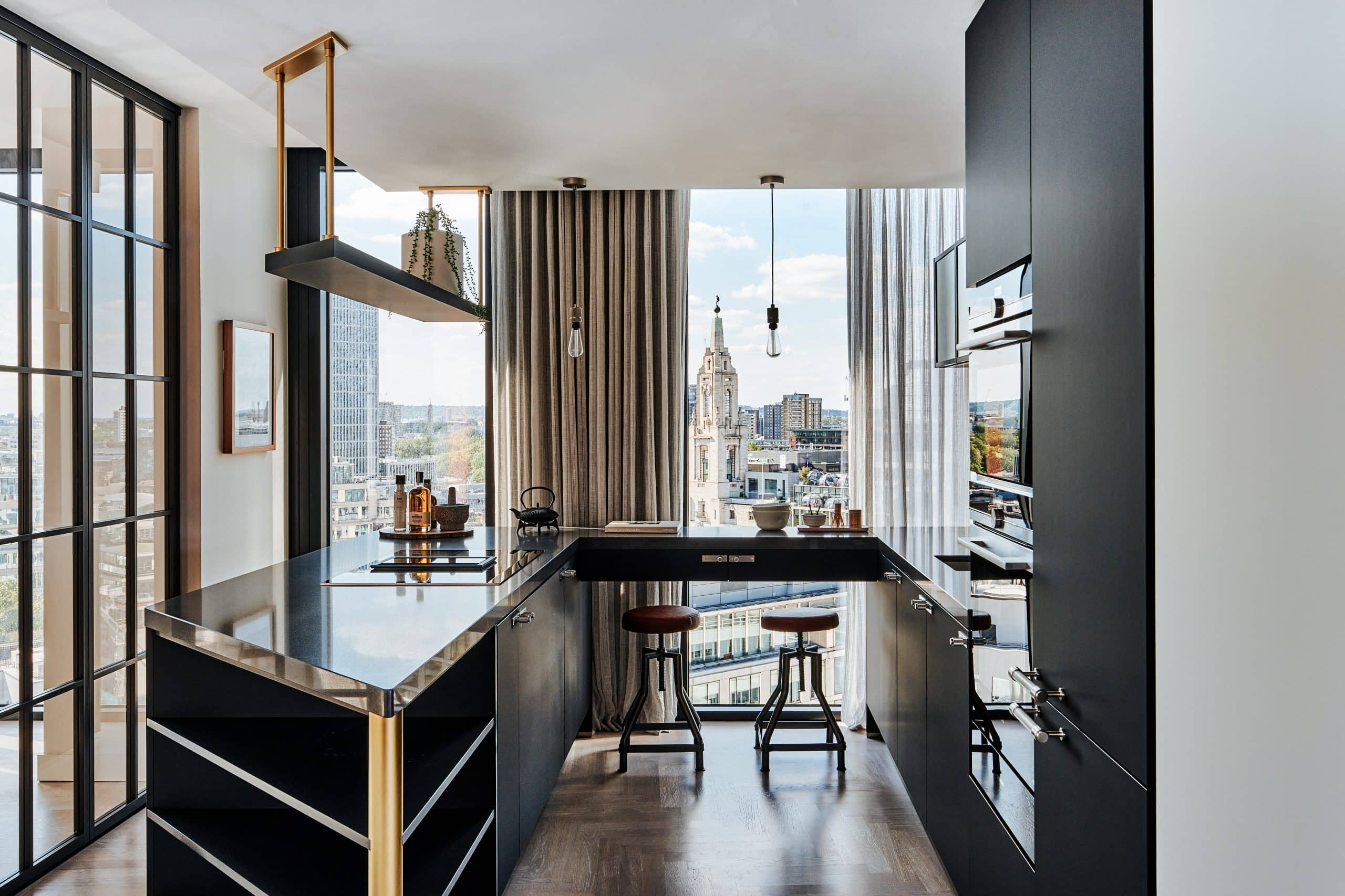 luxury residential apartments in one crown place with internal glass bifolding doors around a winter garden