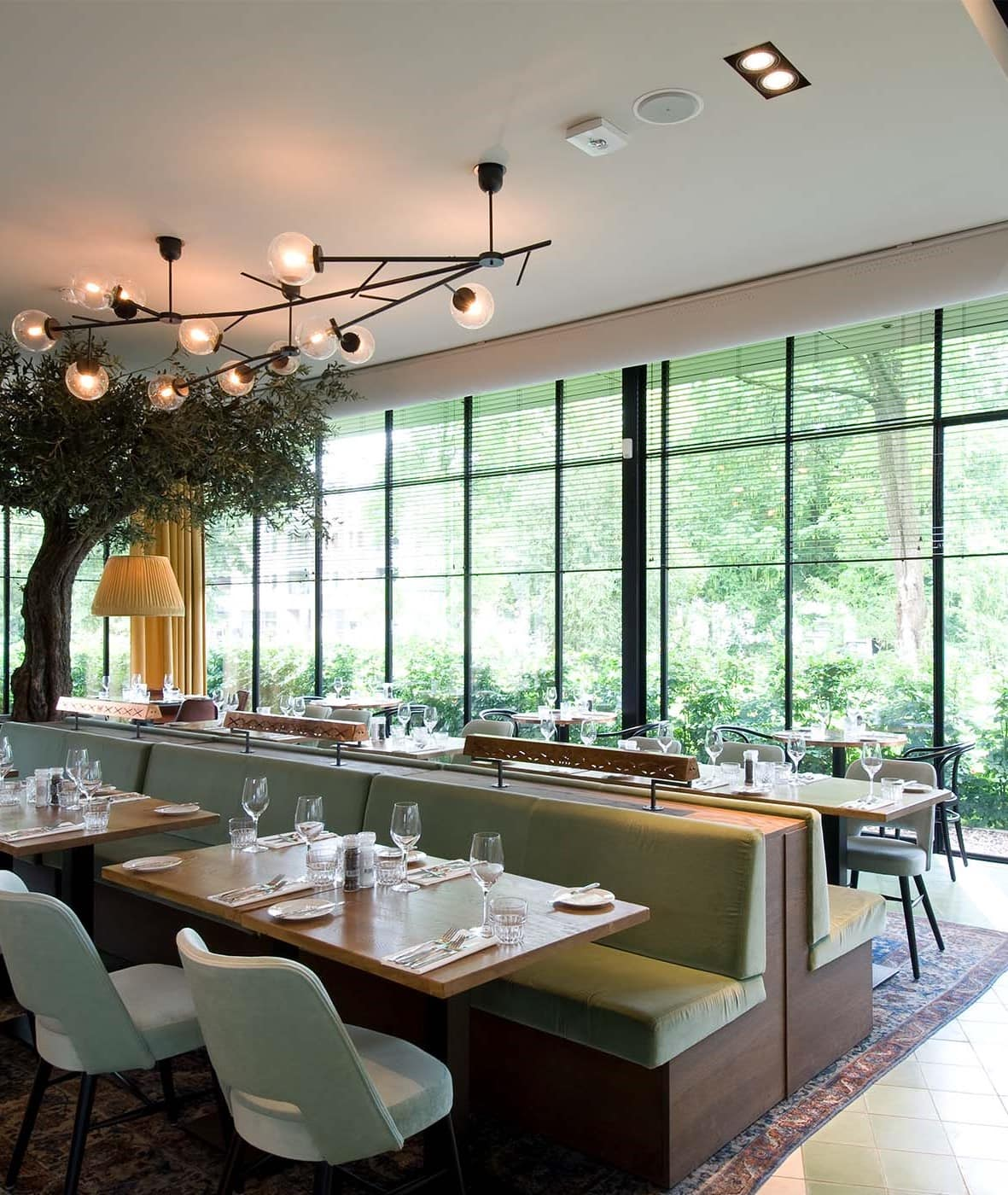 modern restaurant renovation with bespoke steel glazing