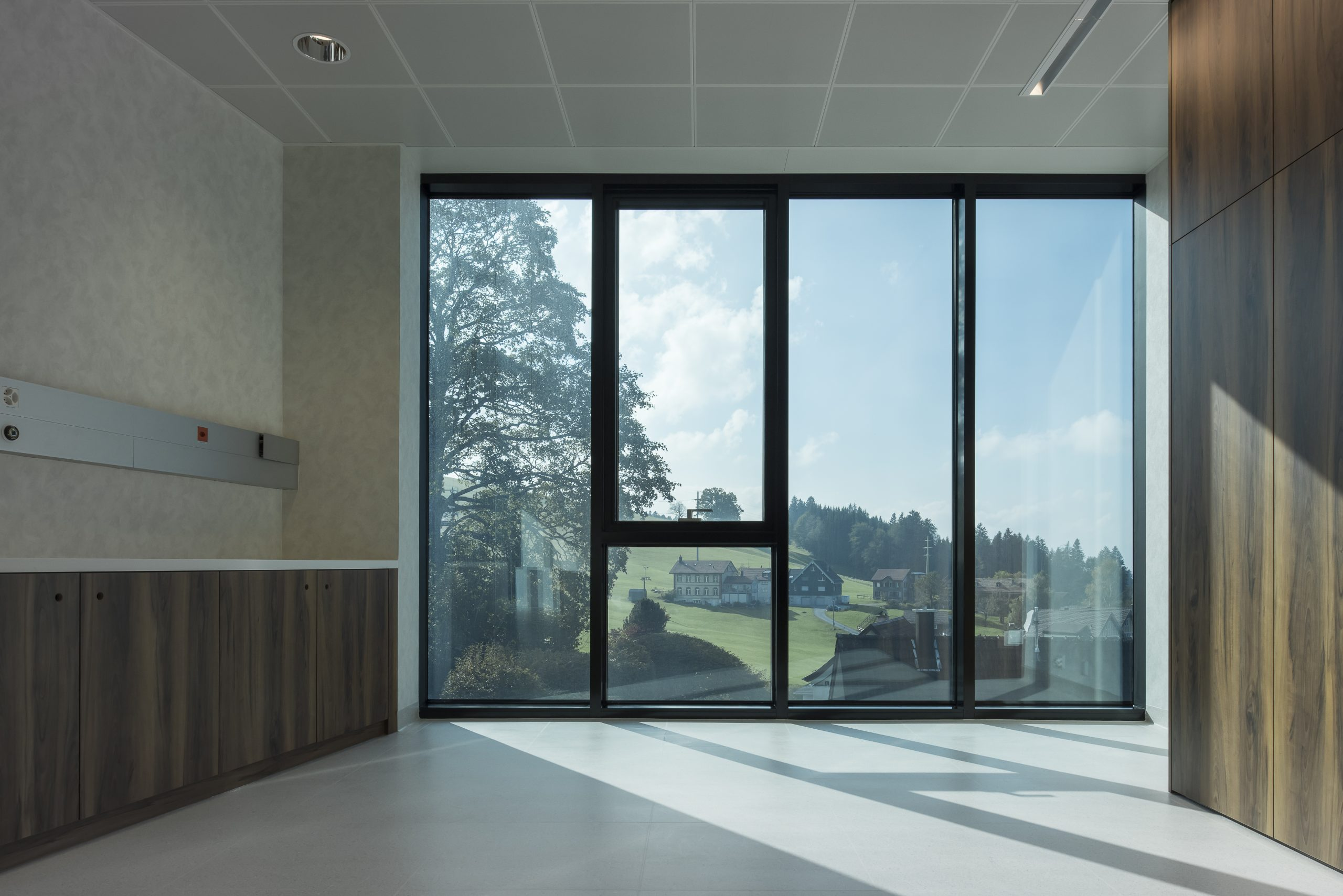 clear electrochromic glass windows in a private healthcare clinic