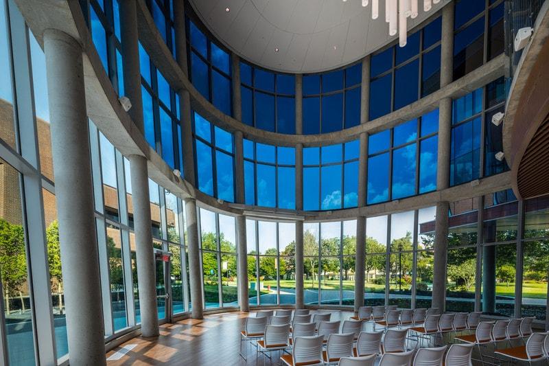 Modern USA university atrium with specialist electrochromic glazing