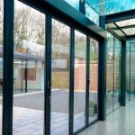IQ office and showroom in Amersham with structural glazing and slim sliding glass doors