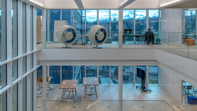 Light filled office design in Switzerland with glass walls