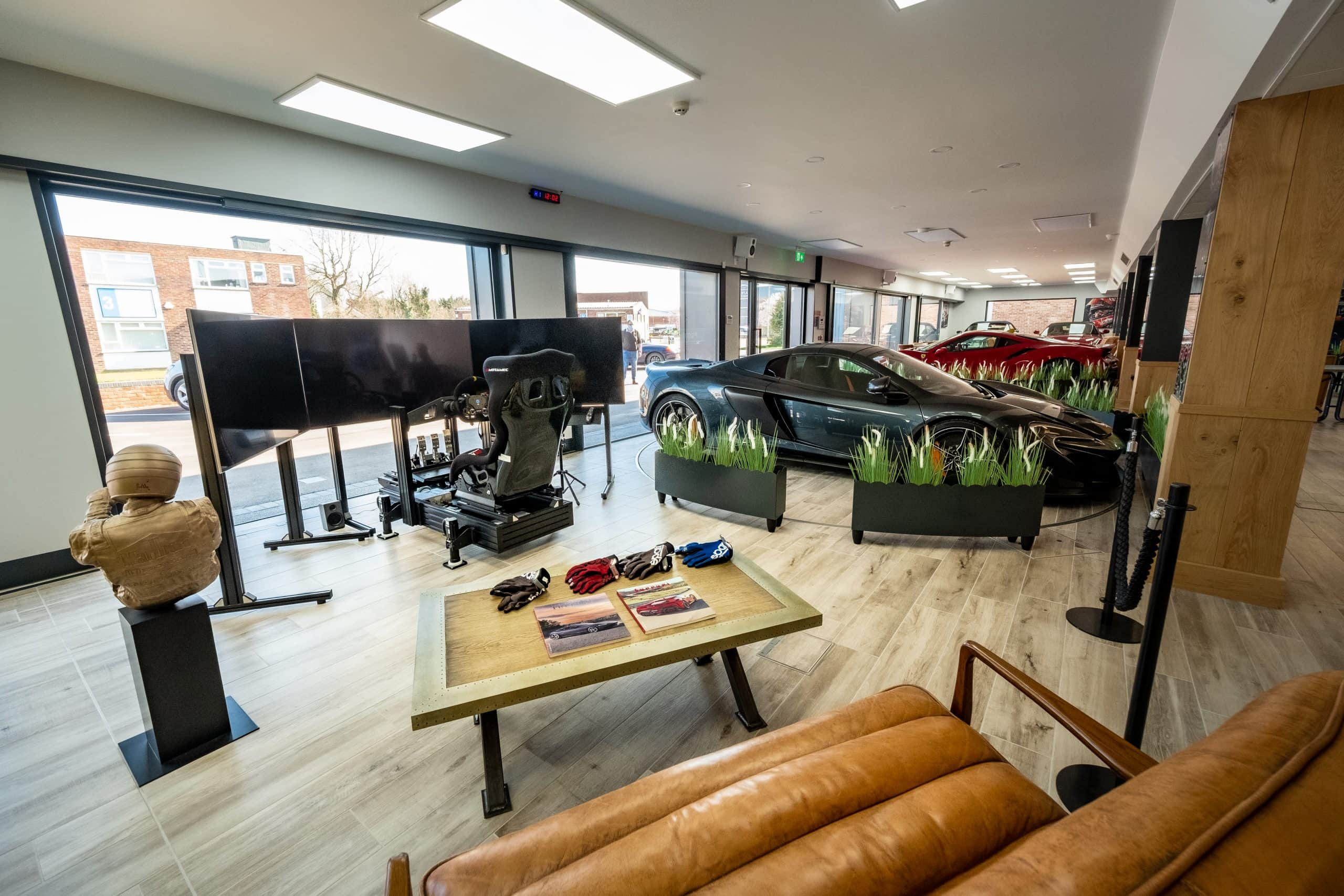 oversized glazing used to let natural light into a luxury car showroom